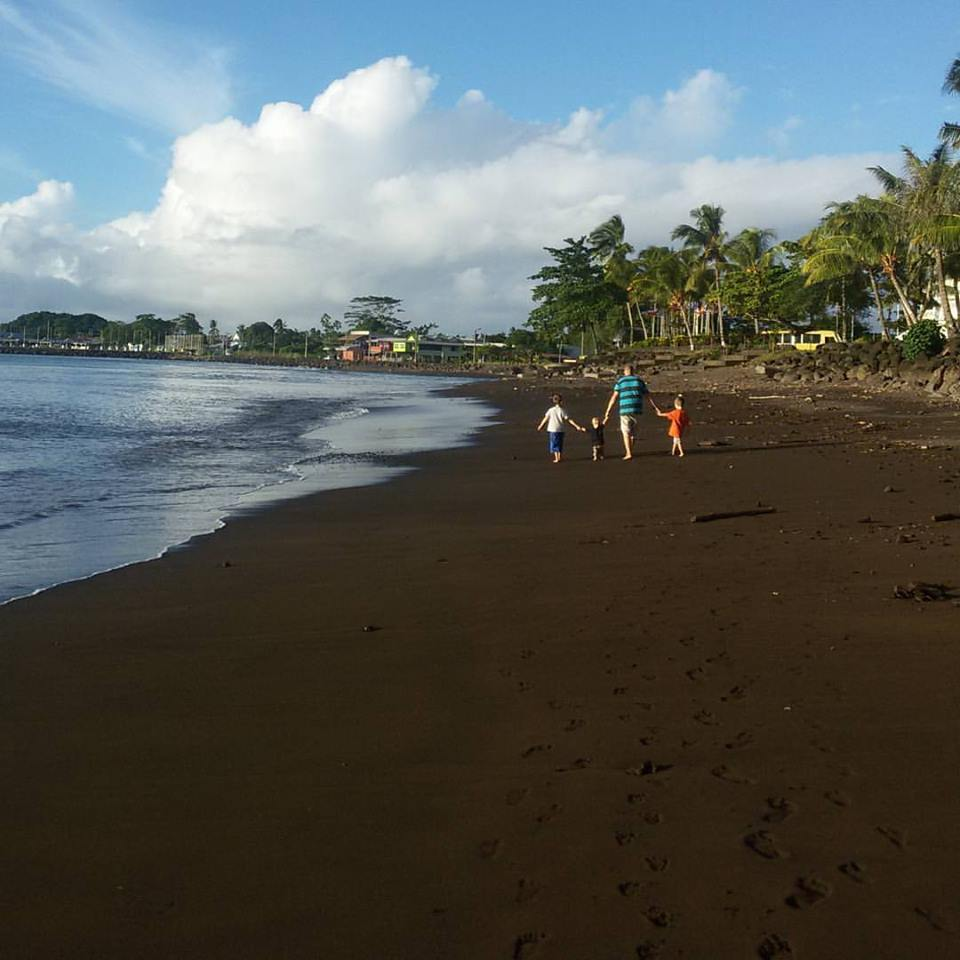 Walking the beach in Samoa